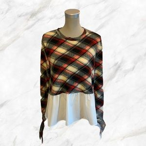 Lord & Taylor | Plaid Top w/ White Blouse Bottom